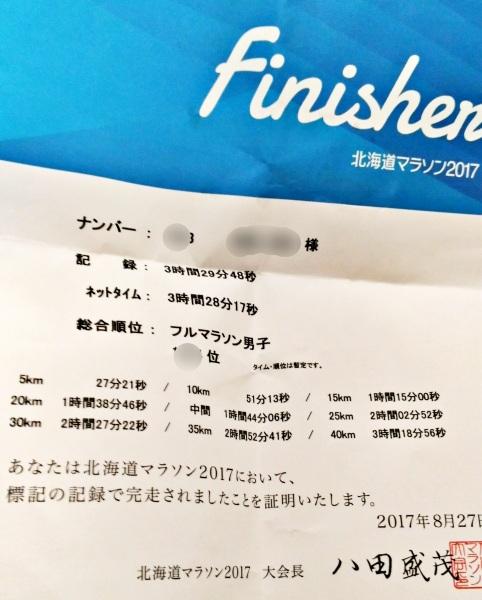 北海道マラソン2017の証明
