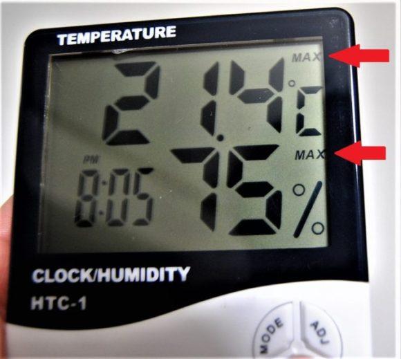 ボタンの押下でそれぞれ矢印の表示が変わります。 最高気温・湿度がMAX、最低気温・湿度がMIN。
