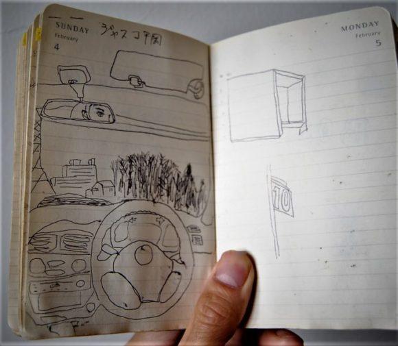 学生時代、ジャスコで駐車場の警備員のアルバイトしてました。休憩時間に車内で書いたドローイング。