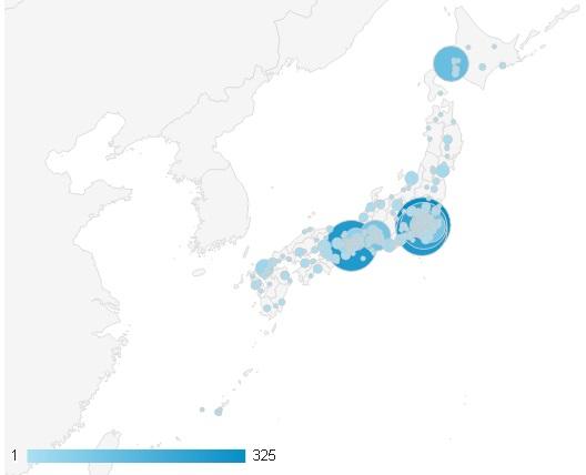 日本における地域別セッション数