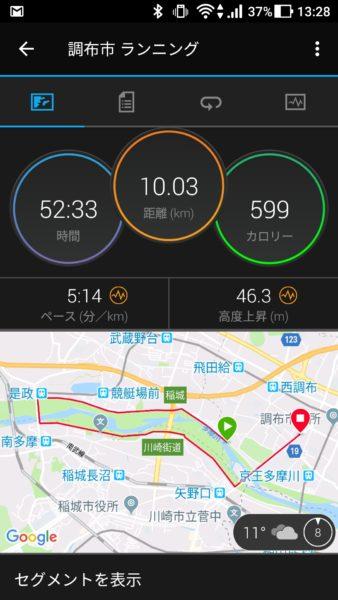 10キロ走った証拠写真(12月8日)。気温11度なので、やや寒い。