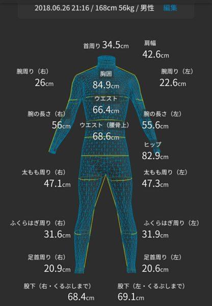ZOZOスーツ計測結果。