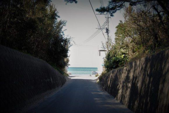 この道を抜けると房総の海が広がる。