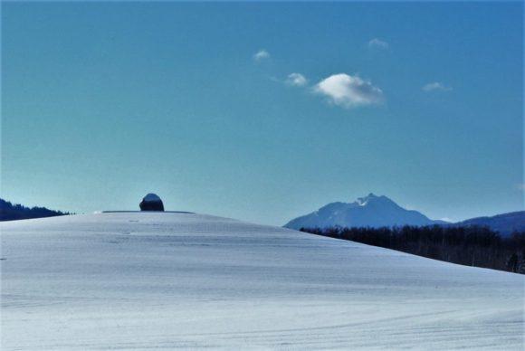 恵庭岳(標高は1,320 m)を背景に大仏様の頭が見えます