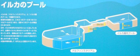 イルカのプールの内部。宇宙船みたいな設計図。