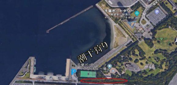 北側の赤枠丸で囲んだところは、午後には路上駐車でいっぱい。