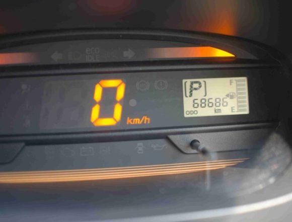 返却時の走行距離68686キロ。走行距離は90キロジャスト!