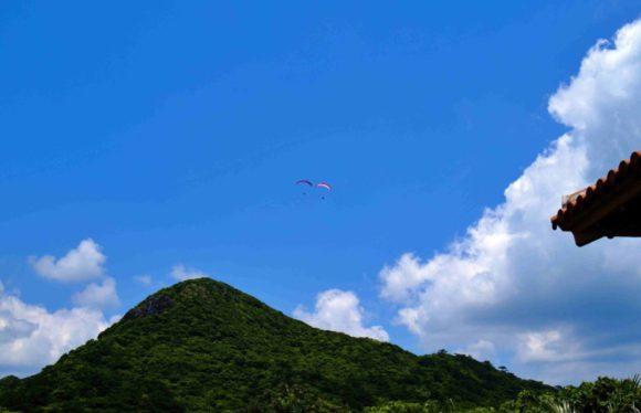 上を見ると2組のパラグライダーが飛んでる。野底岳から飛んだのかな?