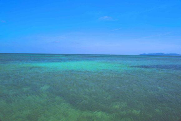 遠くに西表島が見える。