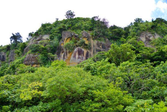 浜辺の真後ろに崖山。