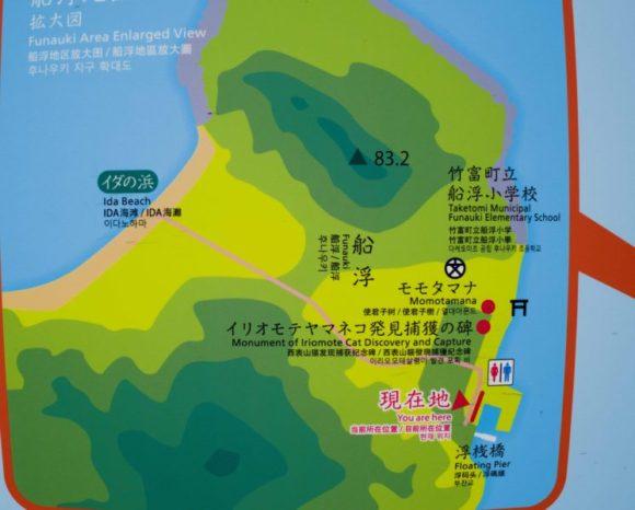 舟浮集落の部分図。イダの浜へは1本道。