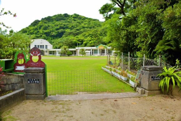 綺麗な芝生の船浮小中学校。