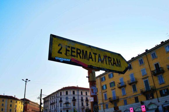 Porta Genovaエリアではトラムと呼ばれる電車が走っています。