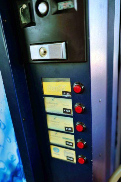 一応自販機もあります。1.5ユーロから~