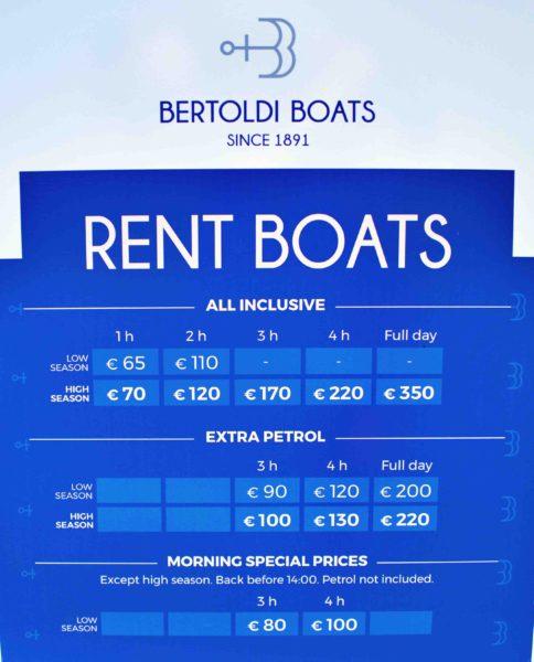 ボートのレンタル料金。下の14時までに戻る朝の時間帯がお得。
