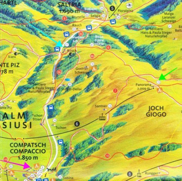 左・緑矢印(パノラマ)~上・水色矢印(リッチ)~下・ピンク矢印(コンパッチョ)を結ぶルート。