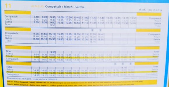 バスの時刻表