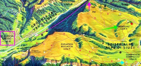 右下の水色矢印(コンパッチ)からスタートし、右中央の緑色矢印(MONTE PIZ)~上ピンク矢印のロープウェイ乗り場からオルティセイへ下降のルート。