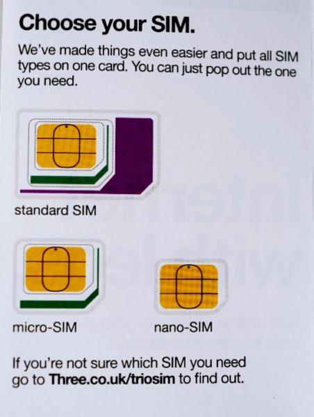 SIMの説明書。