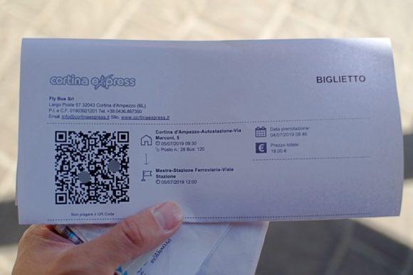 ヴェネツィア・メストレ行きのチケット。