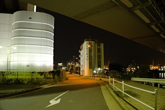 左の白い建物が遊歩道へのエレベーター。中央は東京パイロットの建物なので注意。