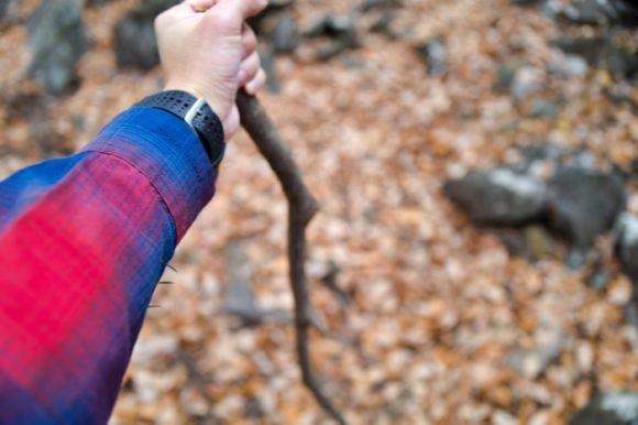 落ちていた枝を杖替わり。