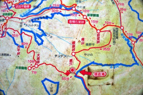 鹿穴の部分図。登山ルートが多くて面白そう。