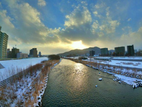 GoProHero8で撮影した豊平川(HDRモード)