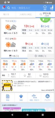 伊豆大島の天気。