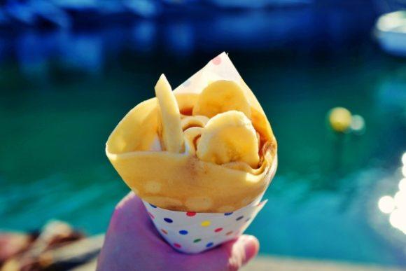 港で食べたバナナキャラメルクレープ(500円)