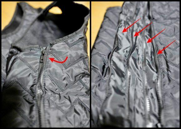 左:ファスナーを下げると 右:段階的調節できる。
