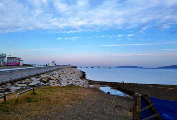 新井海岸無料駐車場から眺める朝の景色。