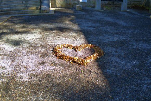 本殿前にあるハートの落ち葉。