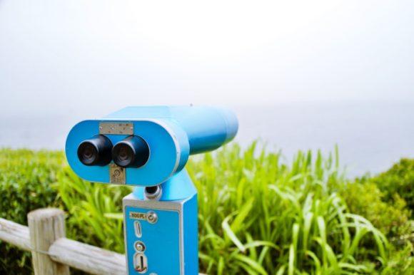 望遠鏡。水平性は霞んでます(^-^;
