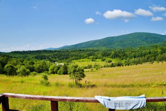 芦別の森のパノラマ。干してあるタオルが生活感あって良い(^^)