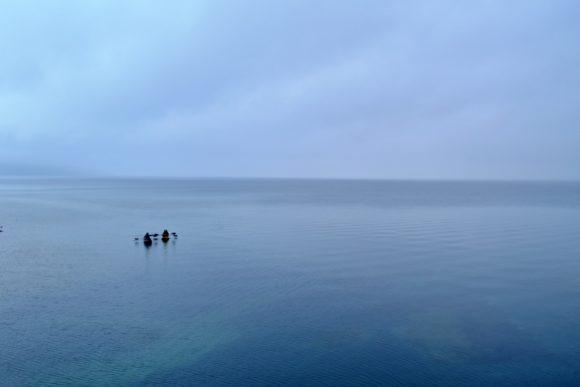 支笏湖でカヌーは最高だろうな。