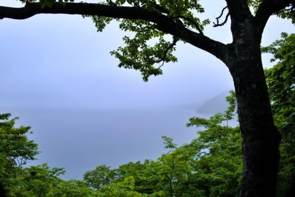 うっすら支笏湖。本当は支笏湖ブルーが見えるはず!