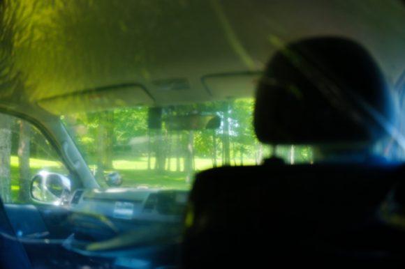 運転席もコロナ対策。