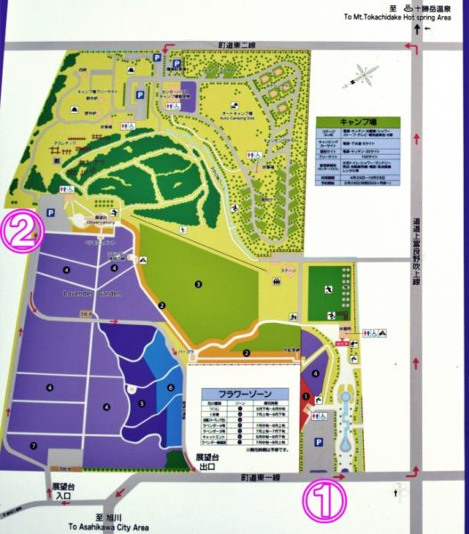 主な駐車場は①丘の下 ②丘の上 に2つ。