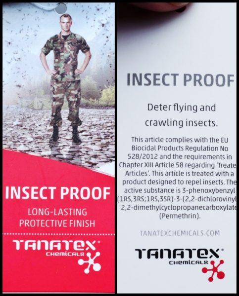 海外の軍隊用ウエアにも採用されているtanatex社のinsect proof(防虫)