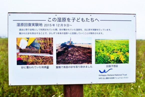 湿原回復の看板もありました。