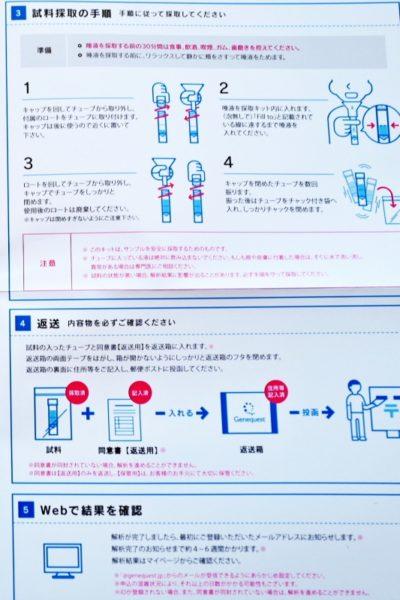 唾液の採取と返送方法。