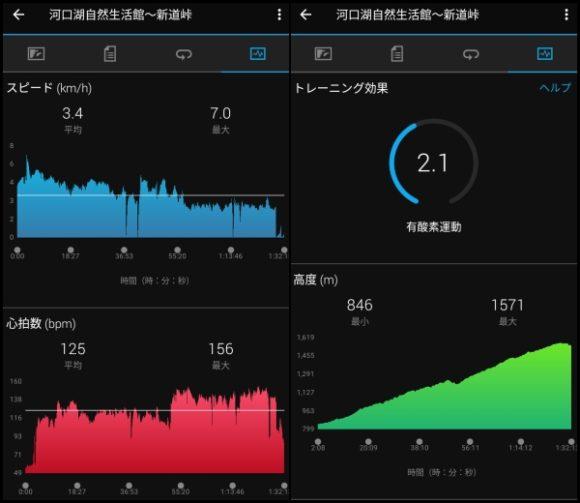 大石公園~新道峠の登り(心拍数と高度)
