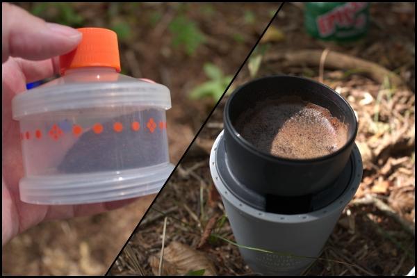 実際に山にコーヒーを持参して淹れてみた様子。