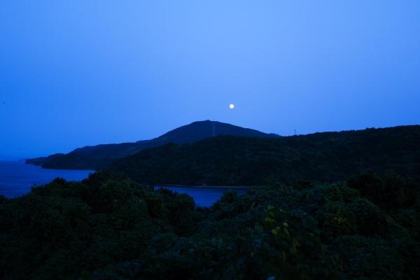 出水市の山から月が昇る