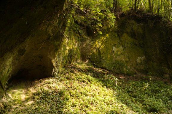 光が射し日だまりが生まれる洞穴前。