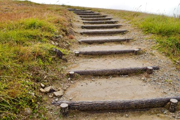 真夏は少しきついかもしれない階段。