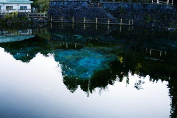 底まではっきり見える池。