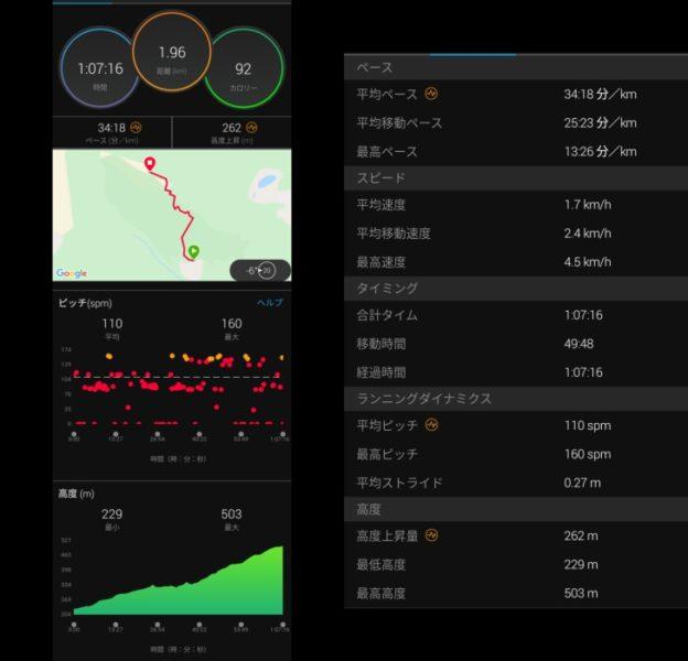 青山登山上りのデータ