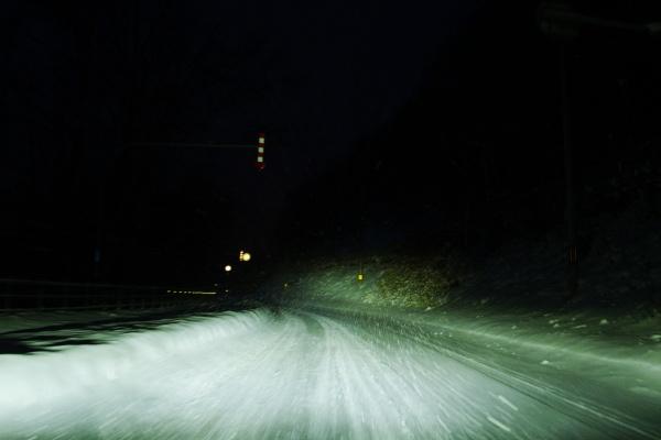朝、札幌市南区を6時に出発。雪道がスリップして怖い。